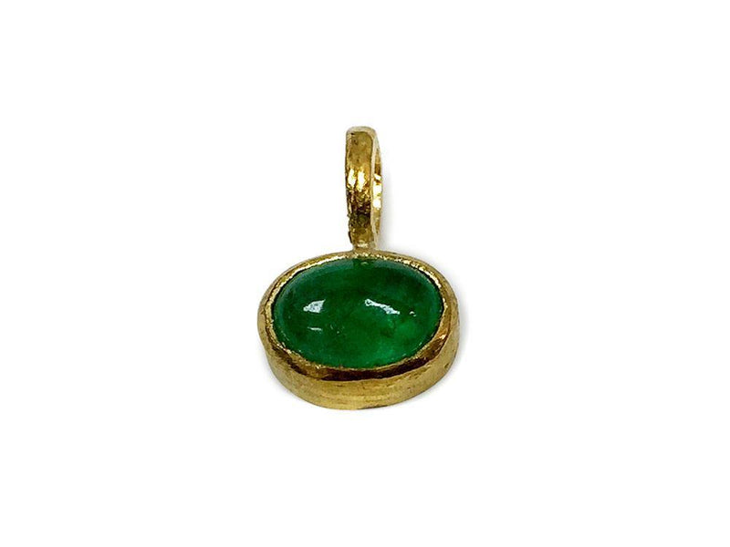 Natural Emerald oval Cabochon Pendant Hand made 14 K Yellow Gold