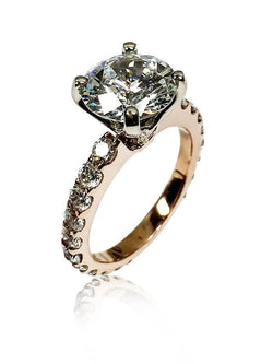 4 Carat Round Cubic Zirconia Blac Chayna Two Tone Rose Gold & White Gold Prong Engagement Ring