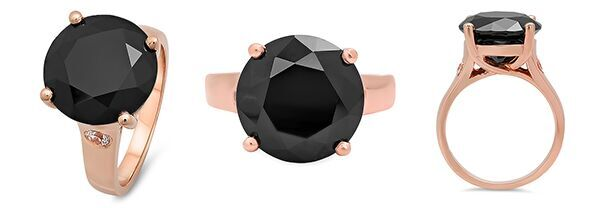 Rose Gold Solitaire Ring Black Stone