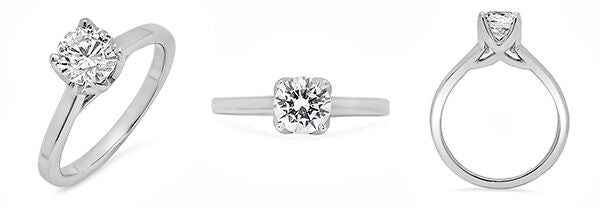 High Quality Round Cubic Zirconia 1 Carat Solitaire 14K White Gold