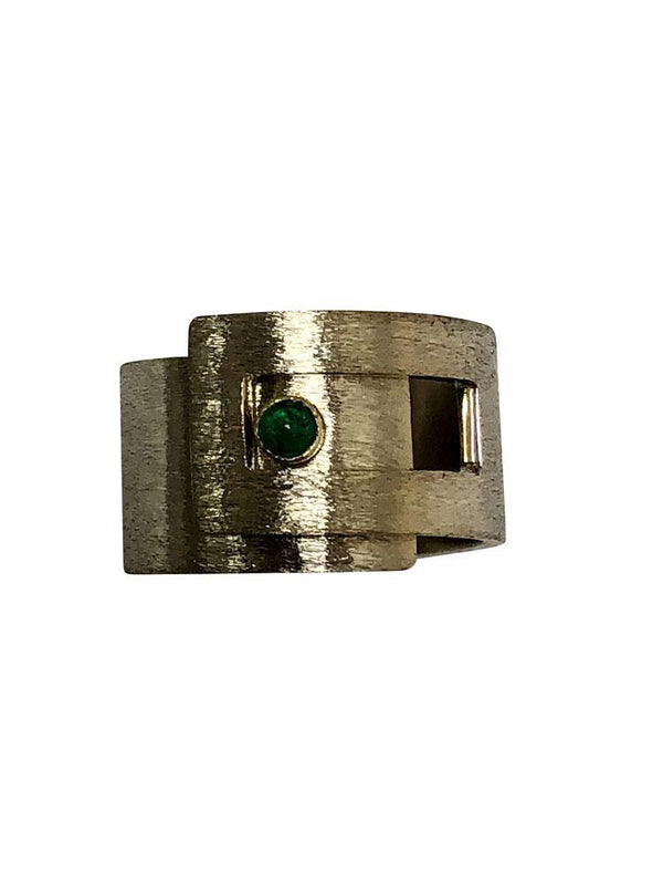 May Birthstone ring /band with Natural Emerald Cabochon Two tone gold