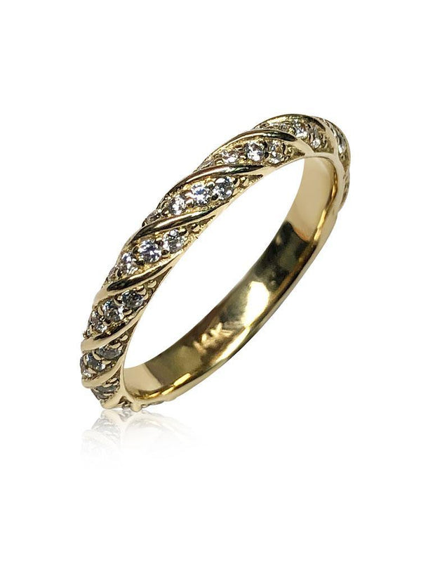 Pave set cz wedding band 14k yellow gold