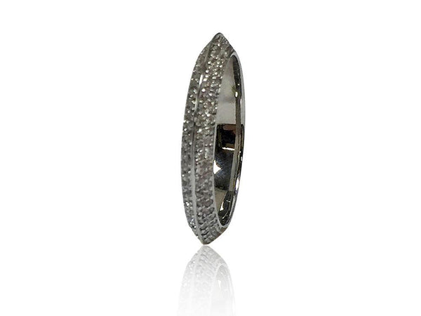 Cubic Zirconia Eternity Knife Shank MIcro Pave Double Rows Wedding Band