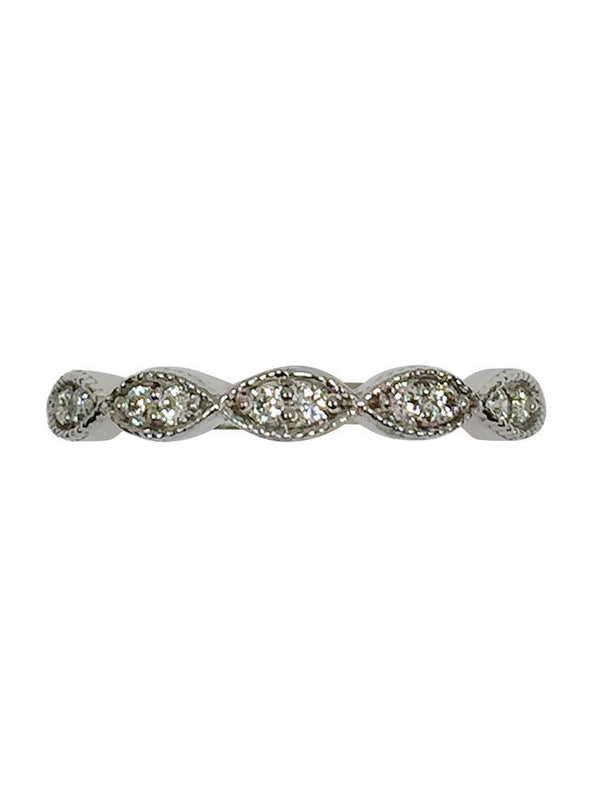 Pave' Set  CZ Wedding Band with milgree 14k White gold
