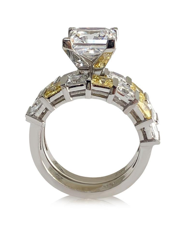 3 Carat Princess Cut AAA Highest Quality Cubic Zirconia Engagement ring with wedding band