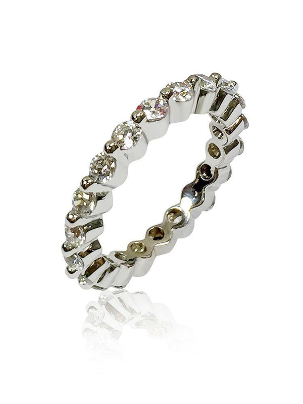 2.75 mm Wide Stack-able Eternity band Cubic Zirconium Round Stones in Share Prongs 14K white Gold