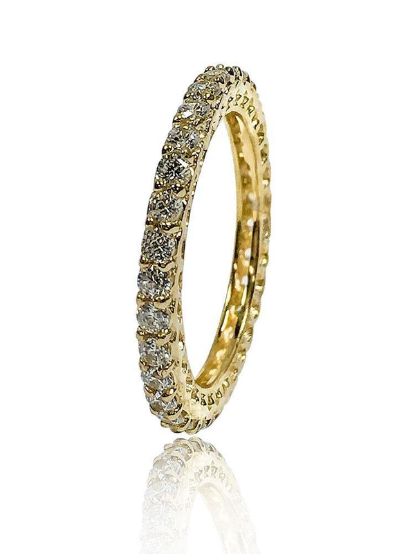 1.50 Carat Total Round Cubic Zirconia Share Prong Eternity Band 14k Yellow Gold