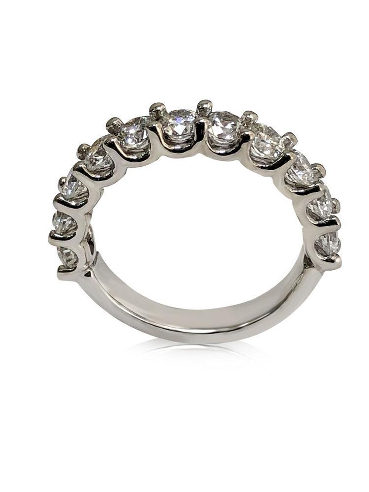 Round  CZ U Shape Share Prong Wedding Band 1.65 TCW