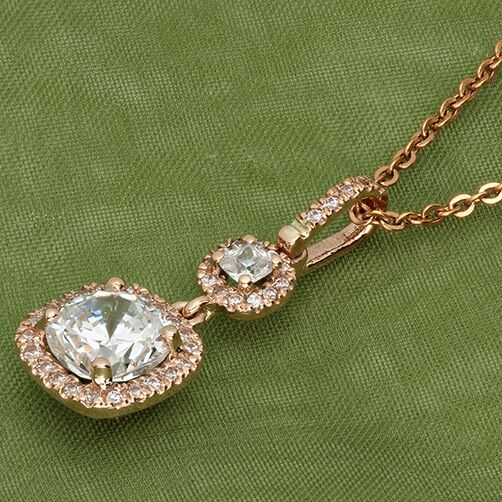 Cushion Cut Cubic Zirconia Rose Gold Pendant