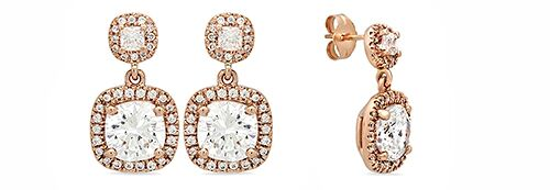 Earrings with Cushion Cut 2.5 Carat Cubic Zirconia Rose Gold