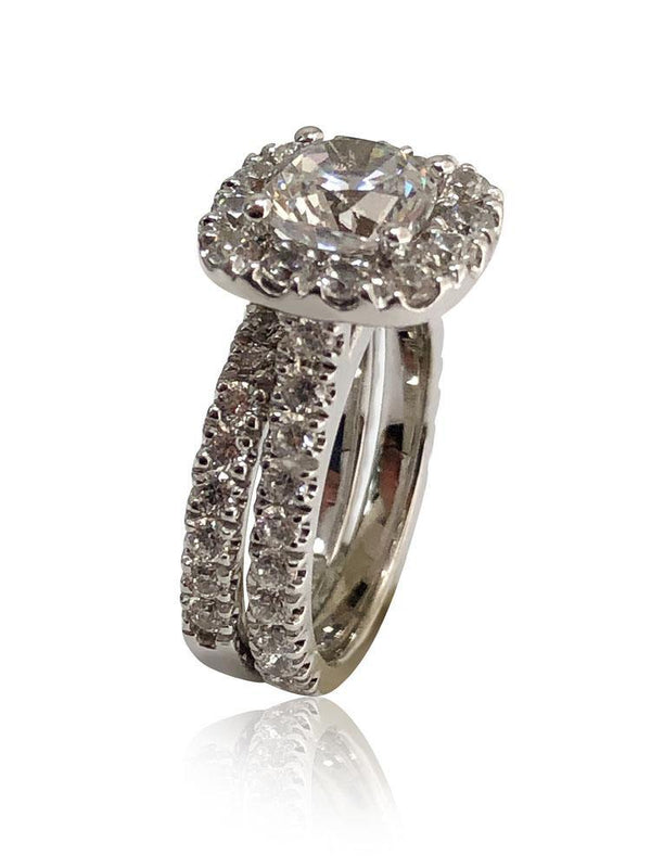 1.25 Cushion Cut Cubic Zirconia Halo Style ring with fitted wedding band