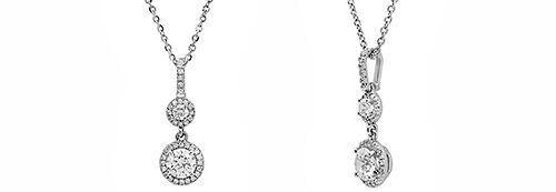 Pendant with High Quality Cubic Zirconia Round Stones in 14K White Gold