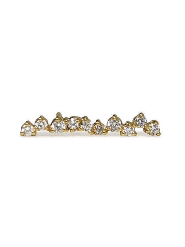 Delicate Clustered Diamond Ear Climber 14 K Gold