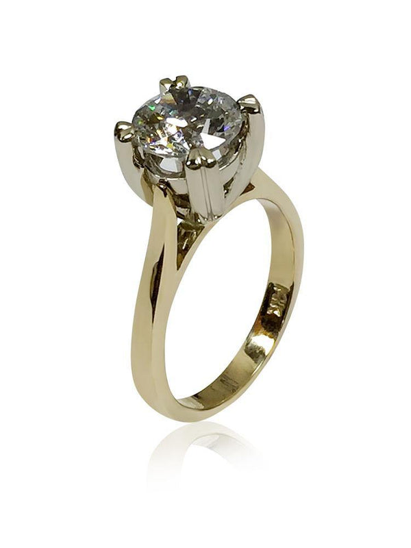 Highest Quality 2 Carat Round Cubic Zirconia Solitaire Two Tone Gold Ring