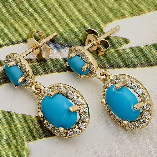 Turquoise in Halo Drop Earrings 14K Yellow Gold