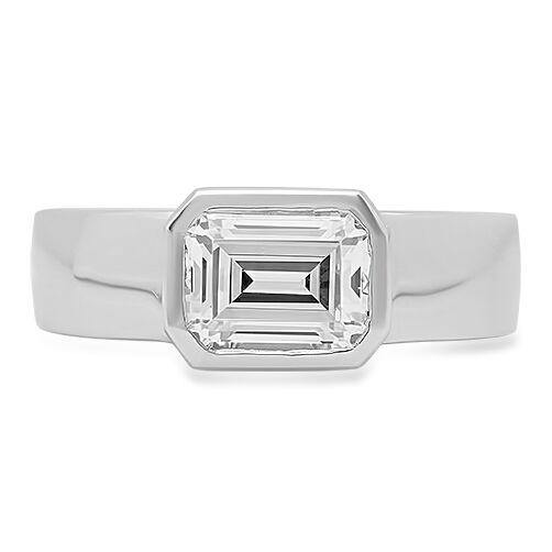 1.5 Emerald Cut High Quality Cubic Zirconia Solitaire Ring in Bezel 14K White Gold