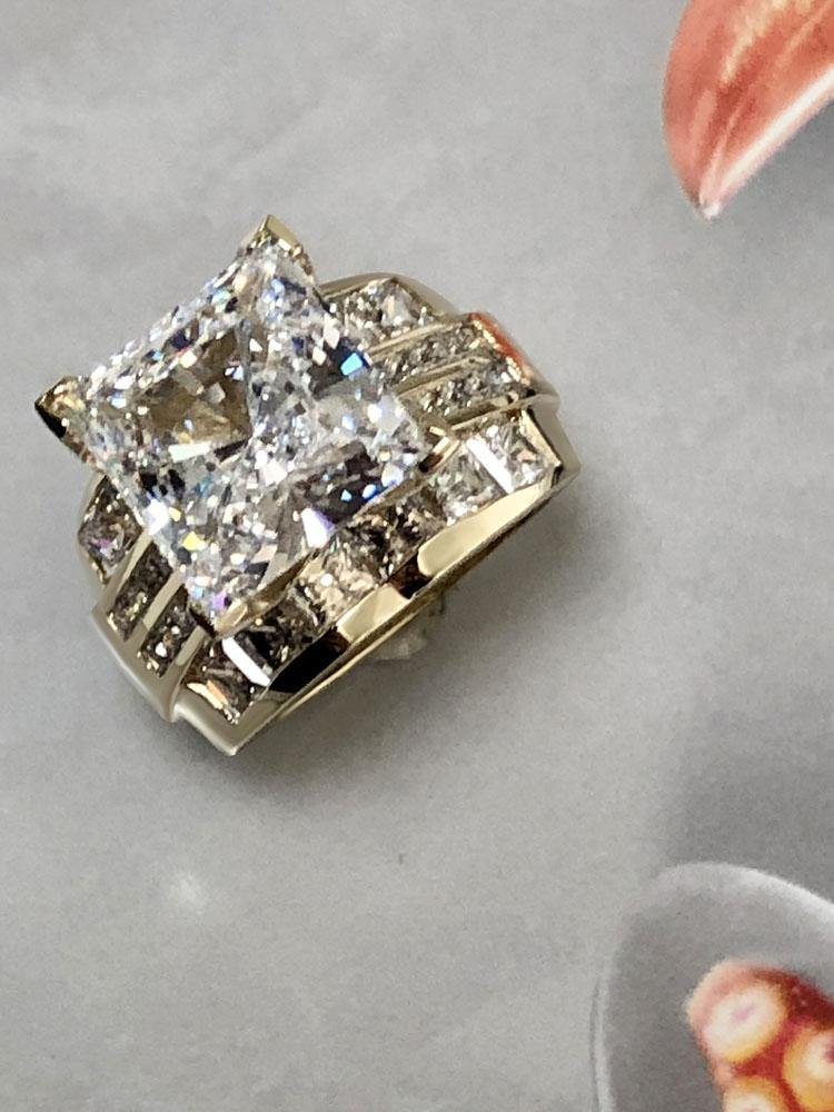 Cubic Zirconia princess cut 6 carat Engagement ring with channel set wide shank