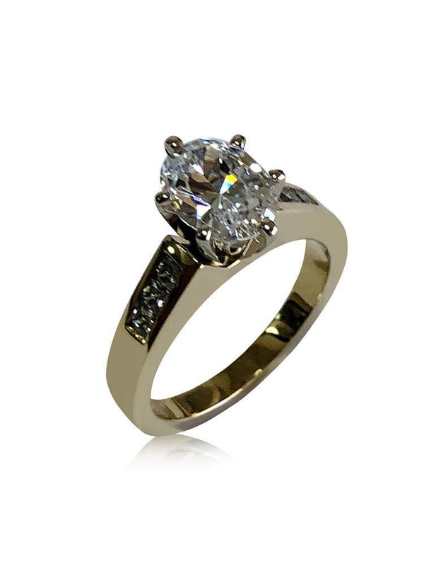 Oval 2 Carat Cubic Zirconia Engagement ring with Channel Sides 14K