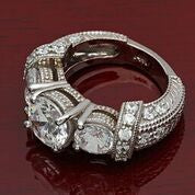 2 Carat Round Brilliant Cubic Zirconia with 0.75 on Each Side Stones Engraved Pave Set 14K White Gold Ring