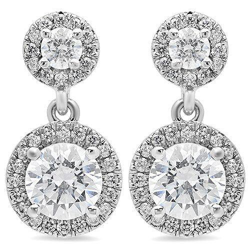 1 Carat Highest Grade Cubic Zirconia Round Stone Halo Style Earrings in 14k White Gold