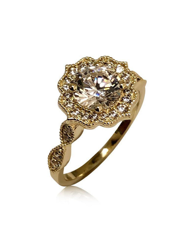 Highest Quality Cubic Zirconia Engagement ring Edwardian Style 14K