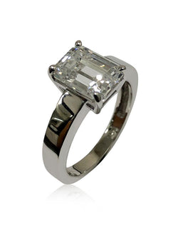 3 carat emerald cut 9 by 7 cubic zirconia Solitaire ring