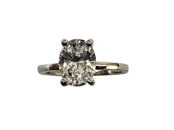 2.5 Carat Oval Cubic Zirconia 4 prong  Solitaire ring 14k White Gold