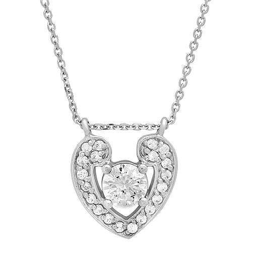 Heart Pendant With Cubic Zirconia Stones with 16 inch Chain