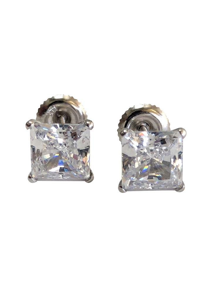 2.5 TCW Princess Cut Martini Stud Earrings 14K White Gold