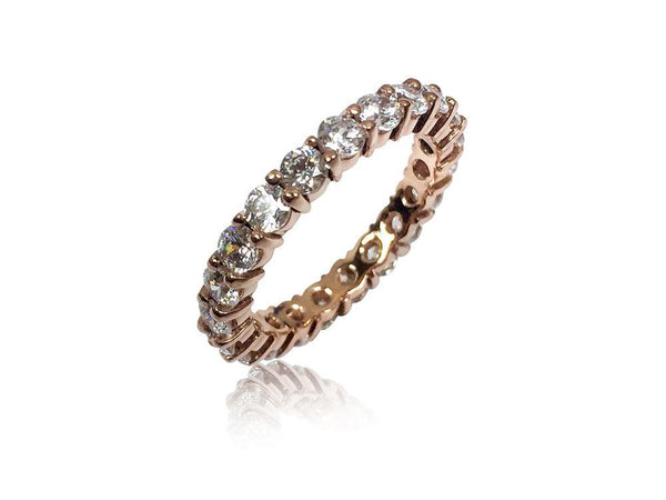 Cubic Zirconia Tiffany Embrace Inspired Eternity Band 3mm Wide 14K Rose Gold