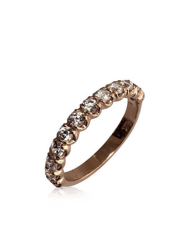 Rose gold  14 K wedding band with cubic zirconia