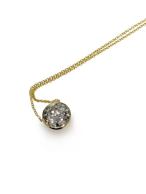 2 Carat Diamond Cubic Zirconia Slide Pendant with chain 14K Gold