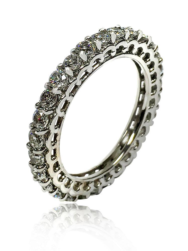 1.8  Carat Total Cubic Zirconia Eternity Band Round Stone 14k White Gold