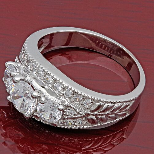 Anniversary .8 TCW Round in Prongs and Pave Cubic Zirconia Cz Ring 14K White Gold