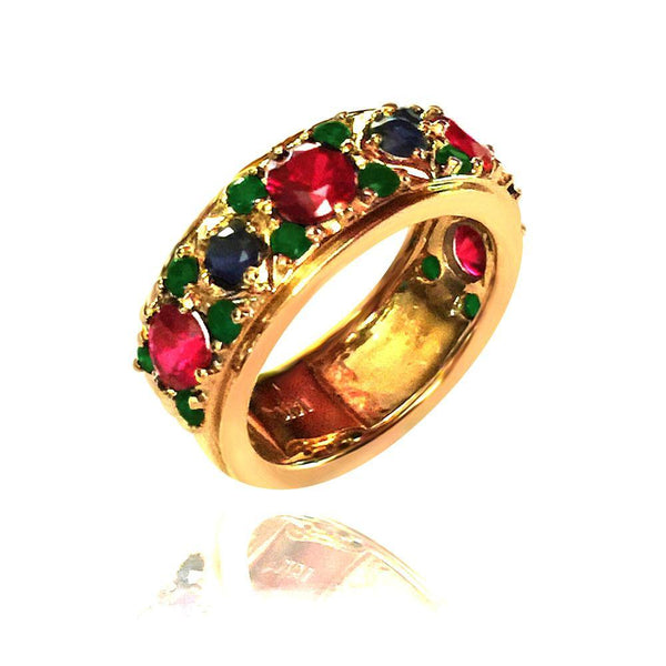 Sapphire Ruby Emerald Round Cubic Zirconia Band 14k Yellow Gold