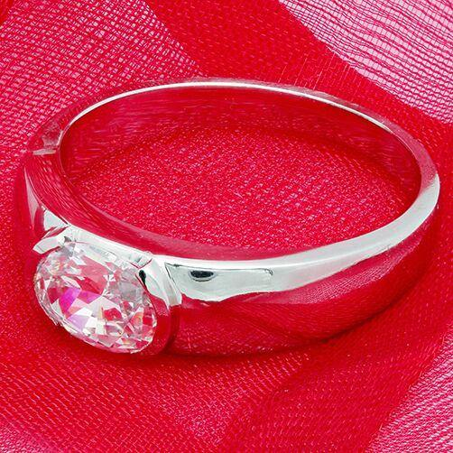 High Quality 2 carat Oval Cubic Zirconia  Solitaire East West Solid 14K White Gold