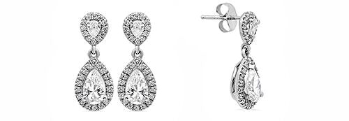 Pear Shape Cubic Zirconia Drop Earring in 14K White Gold