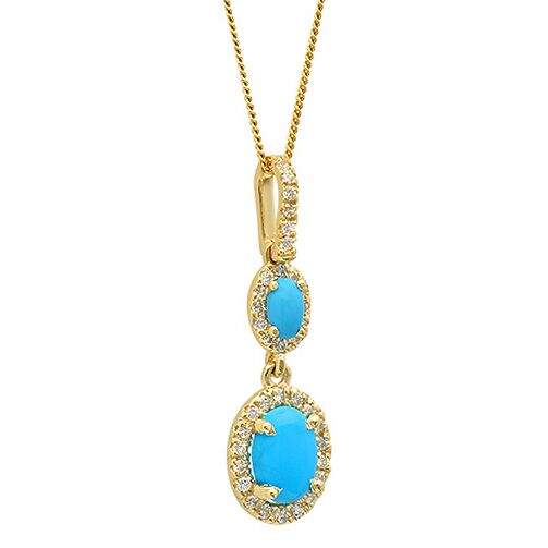 Turquoise in Halo Drop Pendant in 14K Yellow Gold