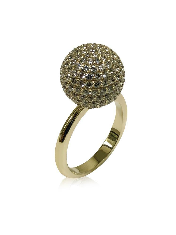 12 MM BALL RING WITH MICRO PAVE 14K YELLOW GOLD