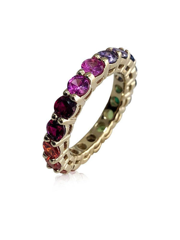 Rainbow colored Cubic Zirconia Eternity Wedding Band 14k