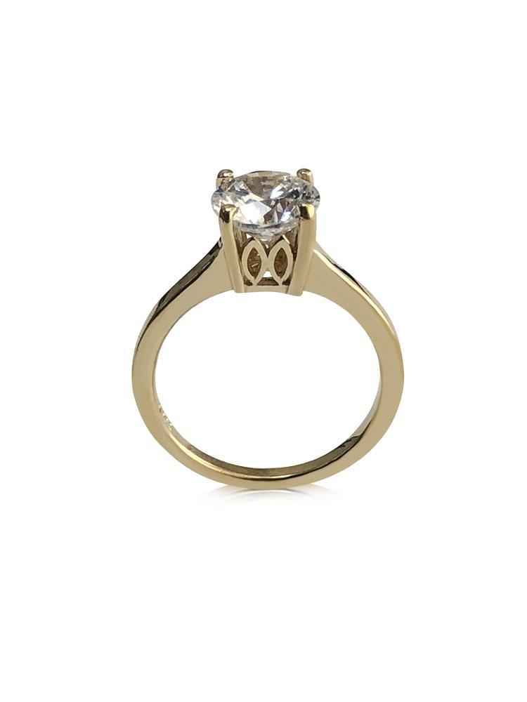 2 carat Highest Quality Cubic Zirconia Diamond Solitaire Ring Yellow Gold