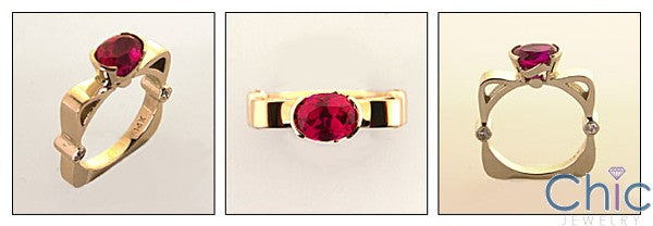 Estate Oval Ruby Euro Shank Cubic Zirconia Cz Ring