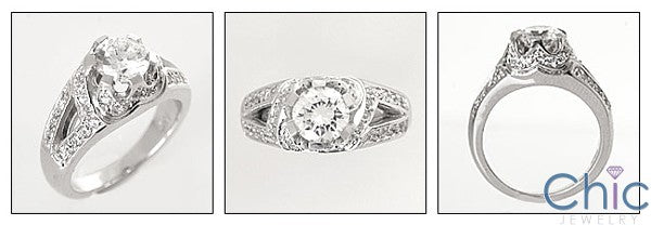Anniversary 1. Ct Round Center Pave Set Cubic Zirconia Cz Ring