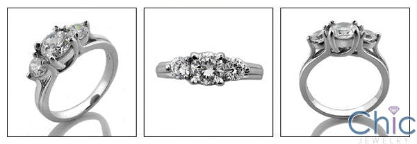 Cubic Zirconia 3 Stone 0.75 Round Center .25 Each Side 14k White Gold Ring