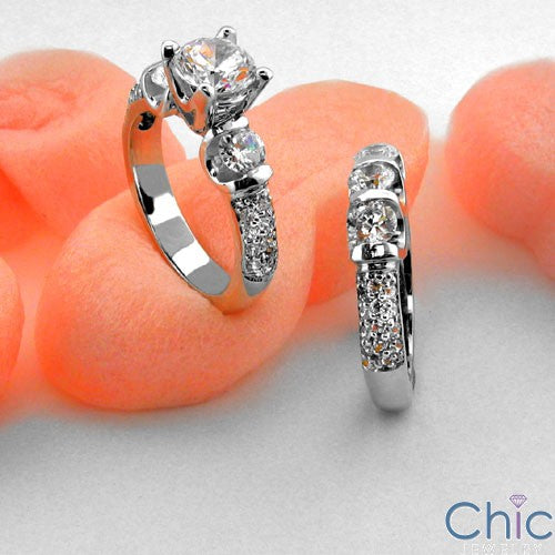 Matching Set Round 1 Ct Center Cahnnel Cubic Zirconia Cz Ring