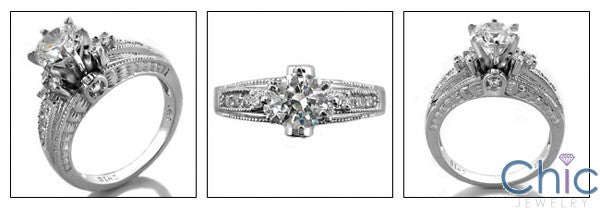 Engagement Round 1 Ct Engraved Shank Cubic Zirconia Cz Ring
