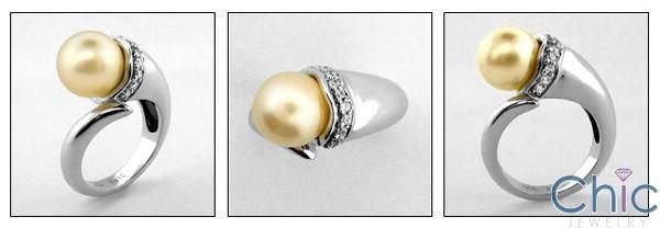 10MM Synthetic Pearl Cubic Zirconia Pave 14K White Gold  Right Hand Ring