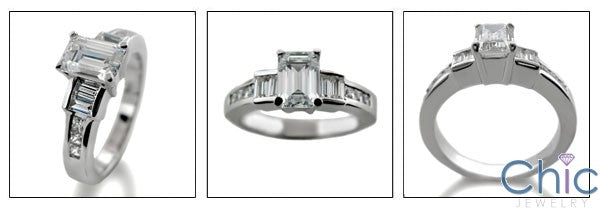 Engagement Emerald 1 Ct Center Channel Cubic Zirconia Cz Ring