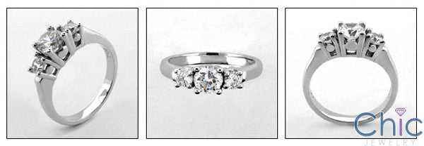 3 Stone .80 TW Round Channel Cubic Zirconia Cz Ring