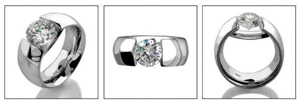 Solitaire 1 Ct Round Channel Cubic Zirconia Cz Ring